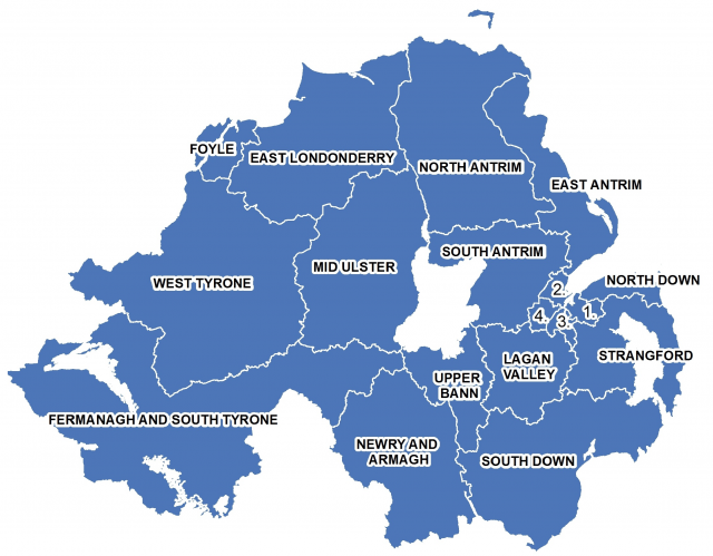 A map showing the constituencies of Northern Ireland. Key to Belfast constituencies: 1=Belfast East; 2=Belfast North; 3=Belfast South; 4=Belfast West.