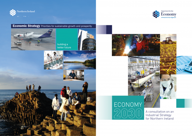Cover pages of the 2012 Economic Strategy and 2017 draft Industrial Strategy