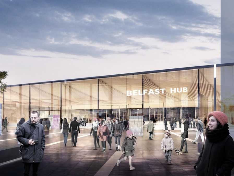 Artist's Impression of Belfast's proposed 'Transport Hub' which has already received EU TEN-T funding during the planning phase and would have been eligible to compete for money as it moved into the capital phase.