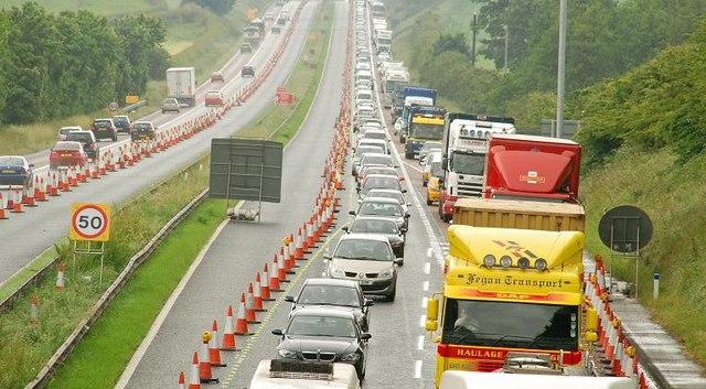 An image of a motorway queue near Lisburn