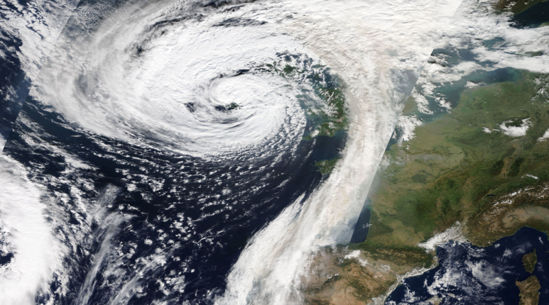 A satellite image showing Storm Ophelia making landfall in Ireland on 16 October 2017 (Image: NASA, public domain)