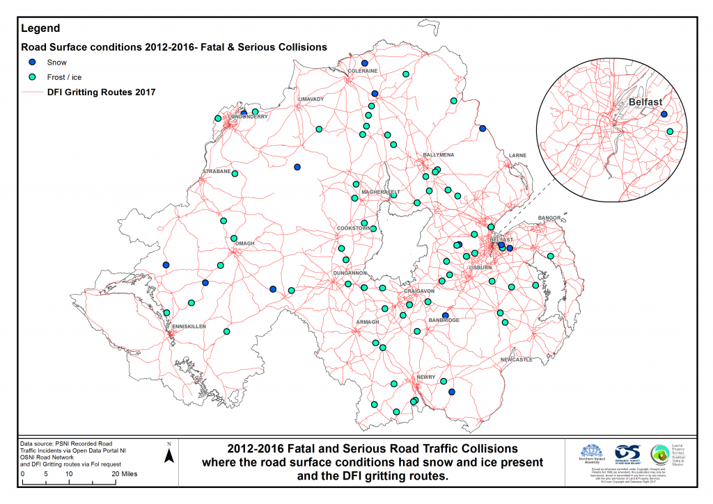 A distribution map showing 2012-2016 fatal and serious road traffic collisions where the road surface conditions had snow and ice present; also displaying DfI gritting routes