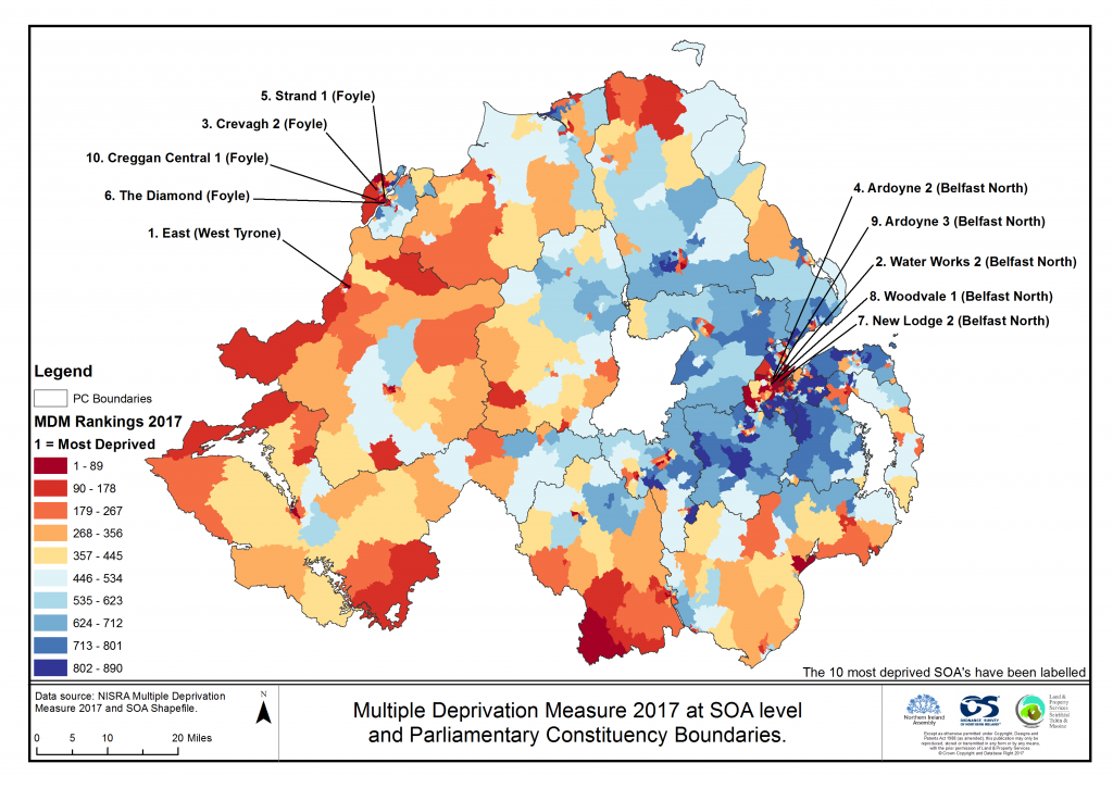 Map 1, showing a spatial distribution of Multiple Deprivation across Northern Ireland (SOA level; Source: NISRA [2017] MDM results at SOA Level)