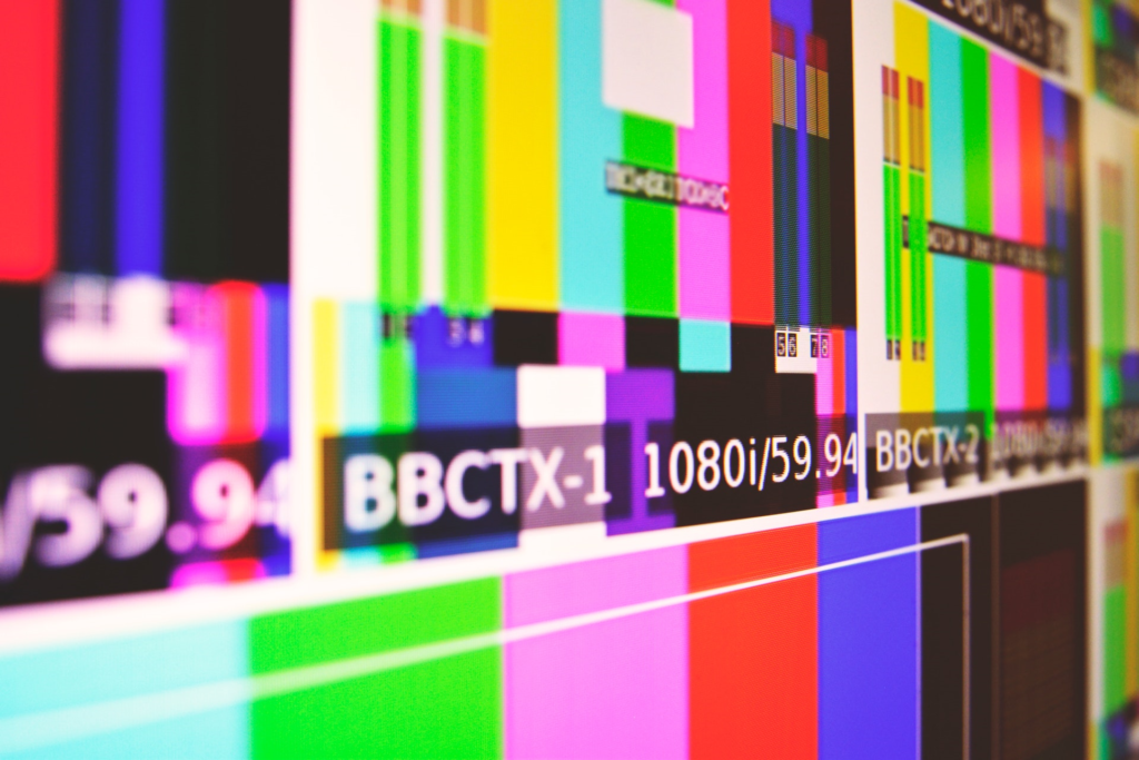 A picture of a screen showing a broadcasting test card