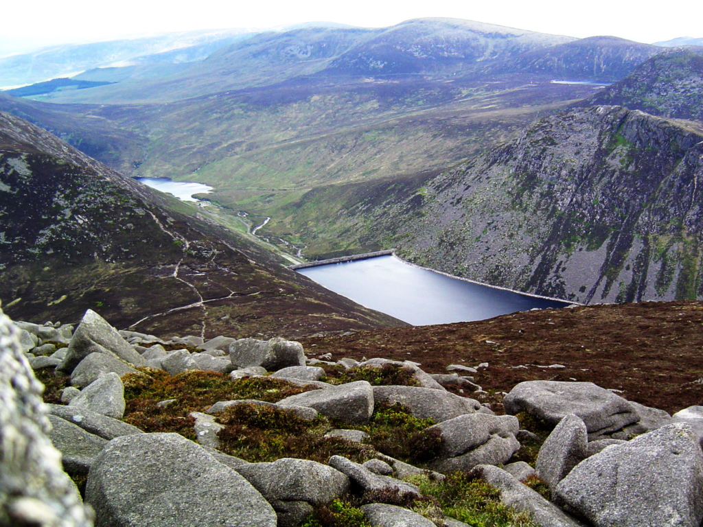An image showing Silent Valley (left) and Ben Crom (right) reservoirs, Mourne Mountains, County Down