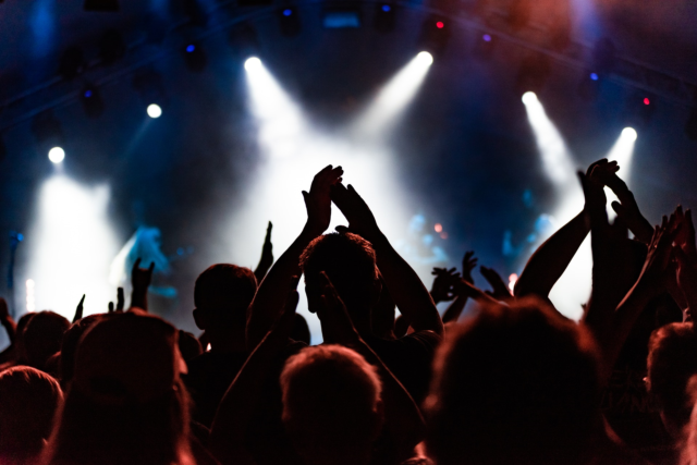 An image showing an audience at a music concert
